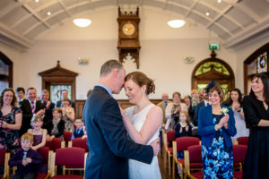 Altrincham Town Hall Wedding Photography - couple hugging