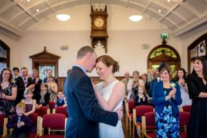 Altrincham Town Hall Wedding Photography - couple hugging