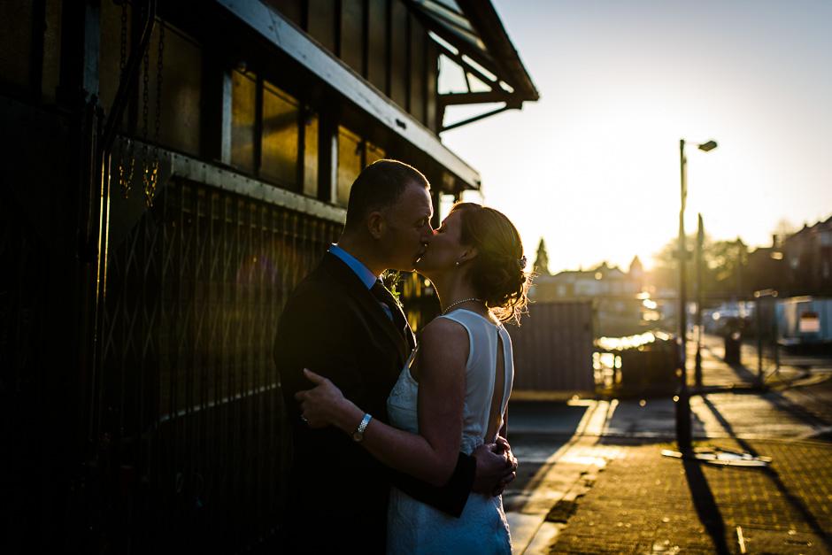 Altrincham Town Hall Wedding Photography - sunset kissing