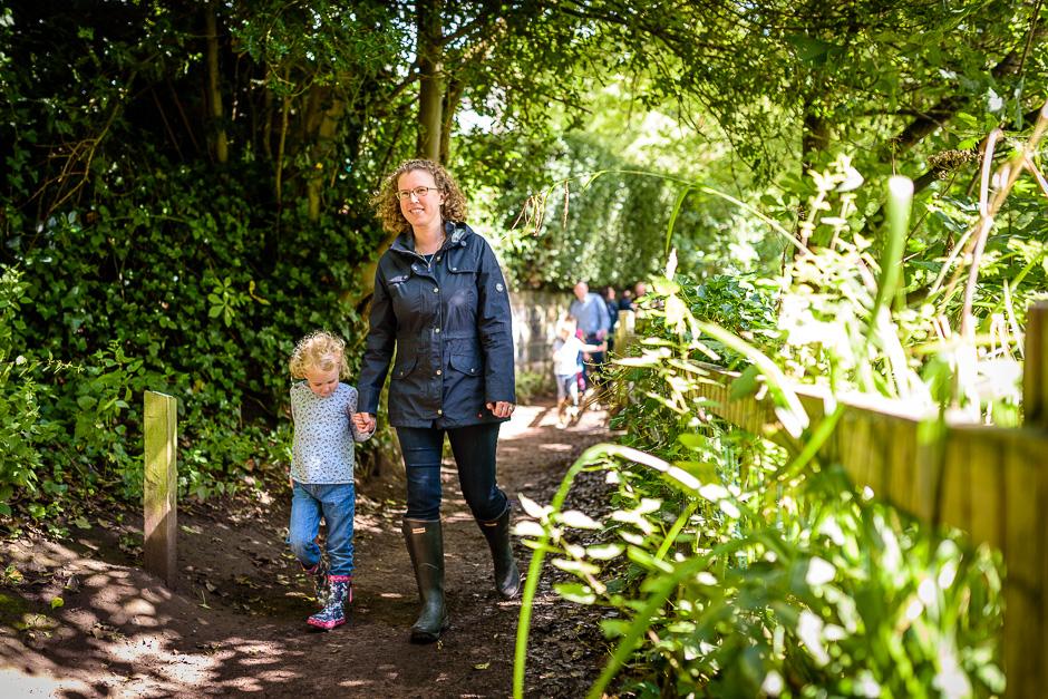 mum and daughter walking