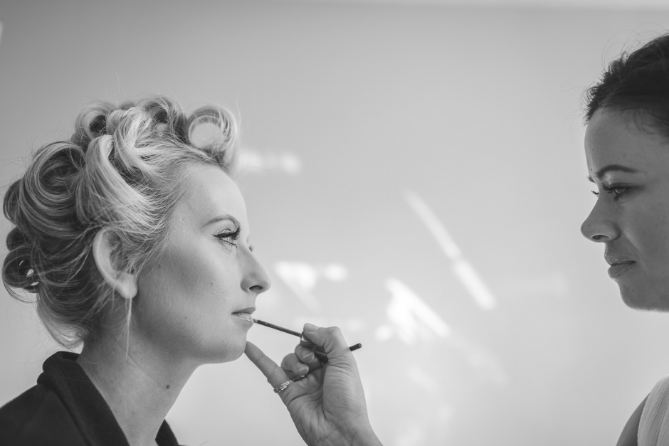 cheshire bride having make up applied